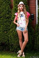 Женская футболка с яркими рукавами у-t6117401