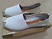 НОВИНКА!!! Красивые летние туфли с перфорацией с открытым носком из нат. кожи VICTORIO амур