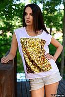 Женская футболка с вставкой -паетка  у-t6117405