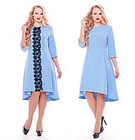 Платье трикотажное  Милана с кружевом голубое, фото 1
