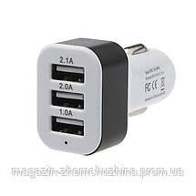 Автомобильная зарядка 3 USB - 1.0A , 2.1А, 2.0А, фото 3