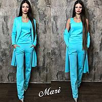 Костюм модный стильный тройка: майка, кардиган и брюки трикотаж 5 цветов 2Dmil408, фото 1