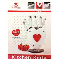 Набор ножей на подставке в виде сердца Shanqxing YW-A190-H, 8 предметов
