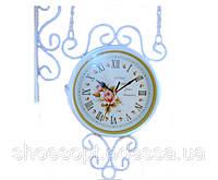 Двусторонние настенные часы белые металлические в стиле Прованс, фото 1