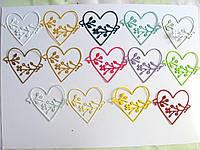 Вырубка из картона.  Сердце с цветами, 56х60 мм