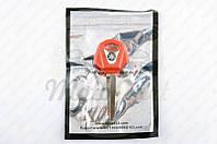 """Ключ замка зажигания (заготовка) Yamaha JOG (с эмблемой, длинный, красный) """"KOMATCU"""" (код товара Z-419)"""