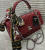 Модная сумка Chanel Шанель на цепочке бордовая с платком