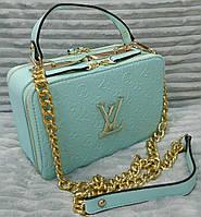 Модная сумка Louis Vuitton Луи Виттон на цепочке цвет голубой