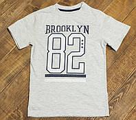 Детская качественная футболка Бруклин для мальчика серая р.134