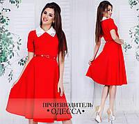 Красное платье А-силуэта с поясом