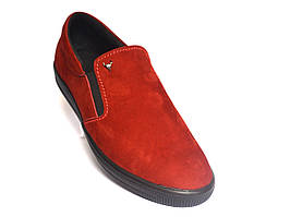 Красные замшевые слипоны мужская обувь на резинках стильные весенние Rosso Avangard RedSlipy Vel