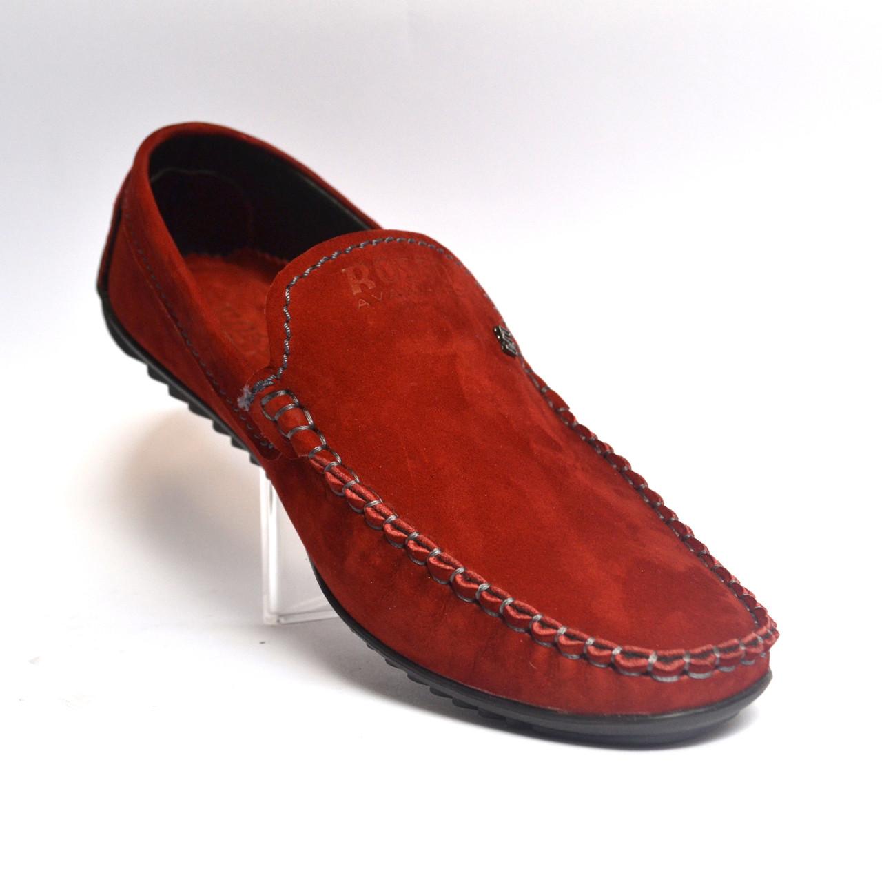 Красные замшевые мужские мокасины  большого размера Rosso Avangard BS Alberto Red