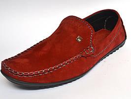 Замшеві мокасини чоловічі стильні червоні весняна взуття Rosso Avangard Alberto Red