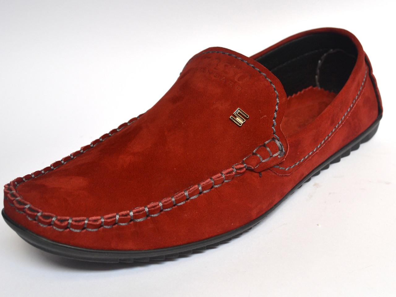 Замшевые мокасины мужские красные стильные весенняя обувь Rosso Avangard Alberto Red