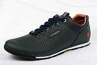 Мужские летние кожаные спортивные туфли ,синие,перфорация