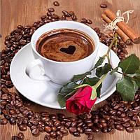 Алмазная вышивка 20*20 чашка  кофе с цветком, квадратные алмазы, полное заполнение