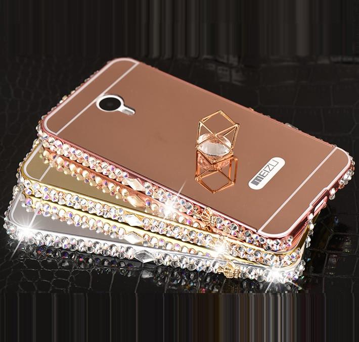 """Meizu M5 NOTE металлический чехол бампер зеркальный хромированный со стразами камнями """"GOLDAX B31"""""""