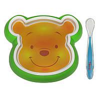 Набор детской посуды: Тарелка пластиковая, ложка силиконовая