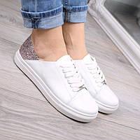 Кроссовки кСлипоны женские Urban на шнурках белый + пудра,кожаная обувь 2017