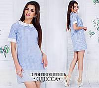 Прямое платье с бело-голубым принтом