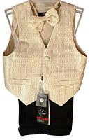 Детский нарядный костюм (брюки, жилет, бабочка), р. 2-6 лет, квадратики золотистый