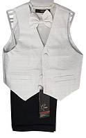 Детский нарядный костюм (брюки, жилет, бабочка), р. 2-6 лет, серебристый белый