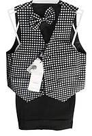 Детский нарядный костюм (брюки, жилет, бабочка), р. 2-6 лет, черно-белый