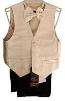Дитячий нарядний костюм (брюки, жилет, метелик), р. 2-6 років, золотистий фактурний