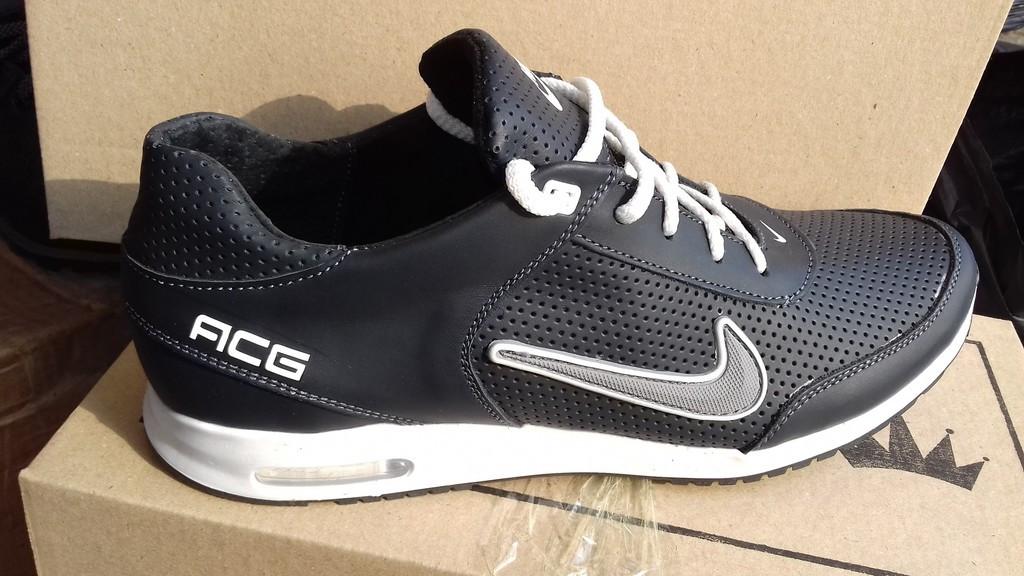 0fec9c2fd8cd Кожаные мужские кроссовки Nike ACG, черные (перфорация) - Интернет магазин