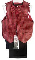 Детский нарядный костюм (брюки, жилет, бабочка), р. 2-6 лет, красный с черным