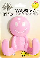 Trento Крючок двойной пластик розовый