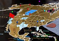Скретч-карта мира MyMap Black Edition на английском языке в раме