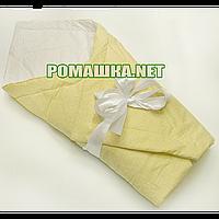 Летний конверт-одеяло на выписку 70х70 в горошек верх низ хлопок утеплитель хлопкопон с бантом 928 Жёлтый