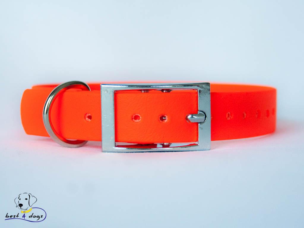 Ошейник из биотана, Оранжевый Неон, 25мм(пряжка металл)