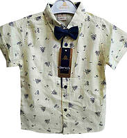 Рубашка детская с галстуком-бабочкой, на 9-12 лет, растительный узор