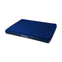 Матрас надувной INTEX 68765 велюр, 2 подушки, насос (152x203x22 см)