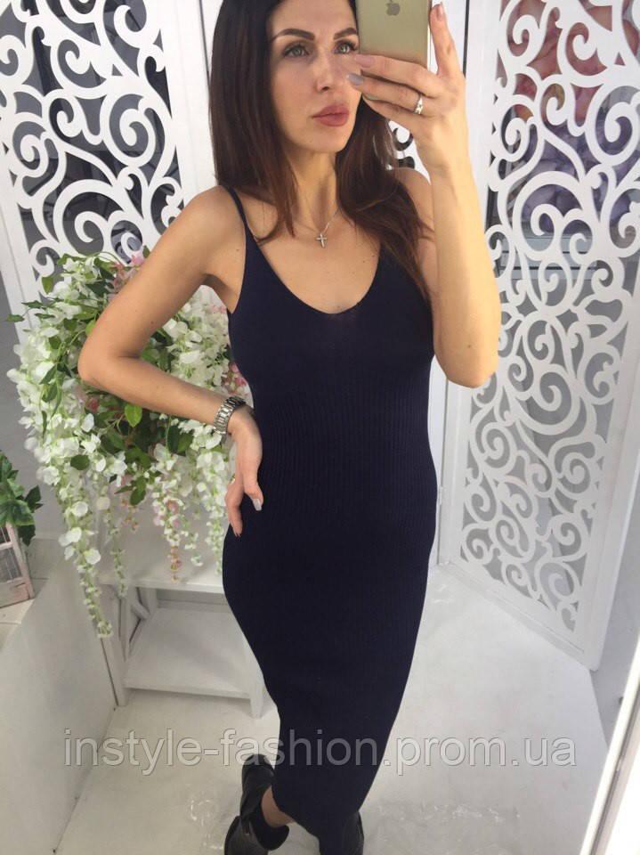 Платье на тонких бретельках с разрезом ткань мелкая машинная вязка цвет темно-синий