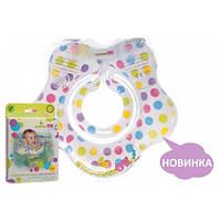 Круг для купания младенцев Конфетти (рисунок в разноцветный горошек), цвет белый, Kinderenok, 240913-030