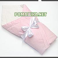Летний конверт-одеяло на выписку 75х75 в горошек верх низ хлопок утеплитель синтепон с бантом 928  Розовый