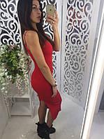 Платье на тонких бретельках с разрезом ткань мелкая машинная вязка цвет красный