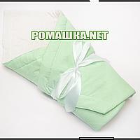 Летний конверт-одеяло на выписку 75х75 в горошек верх низ хлопок утеплитель синтепон с бантом 928 Зелёный А