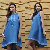 Расклешенное платье с вышивкой с американской проймой