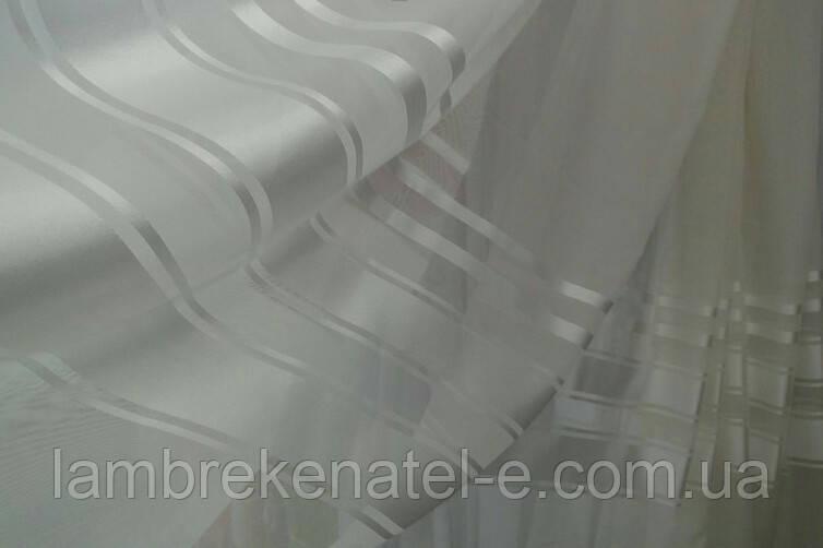 Шифон с атласной полосой (Турция) белый