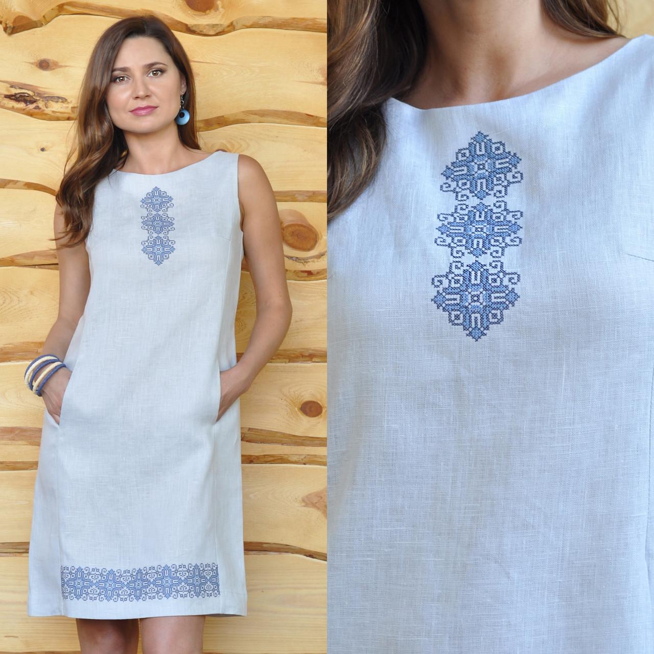 Вышитое белое платье - Интернет-магазин