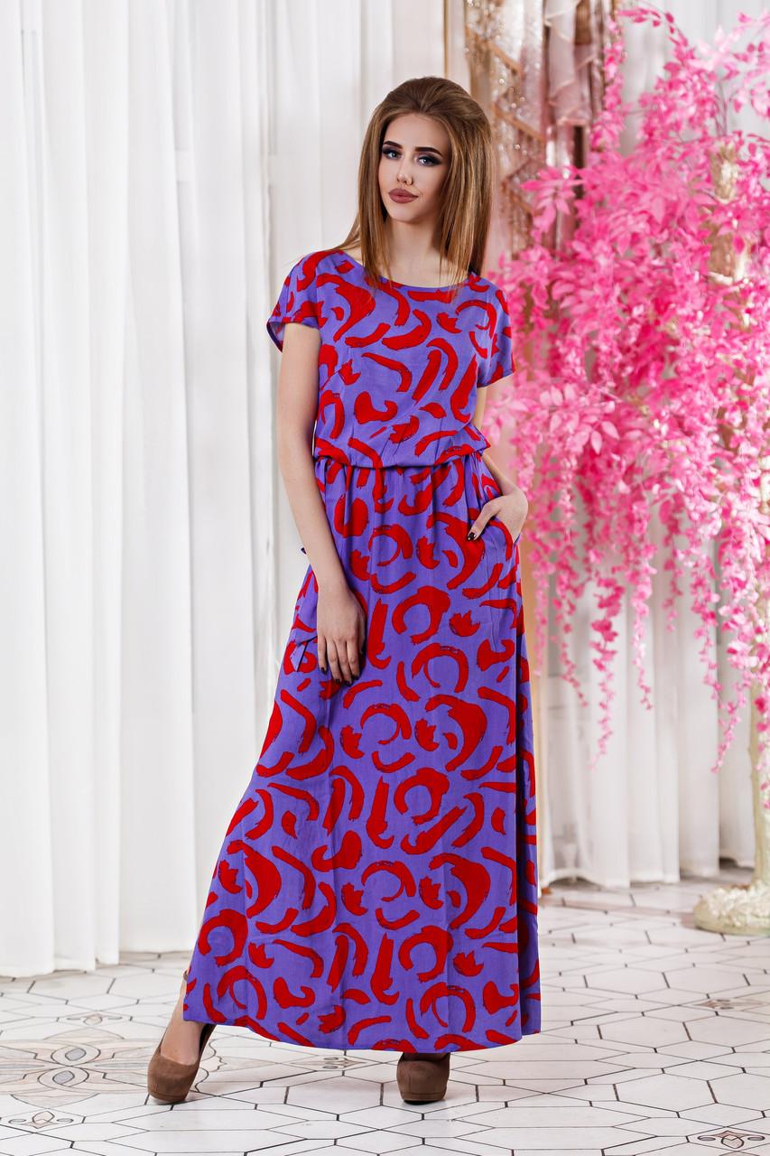 ДС447 Длинное летнее платье размеры 42-56