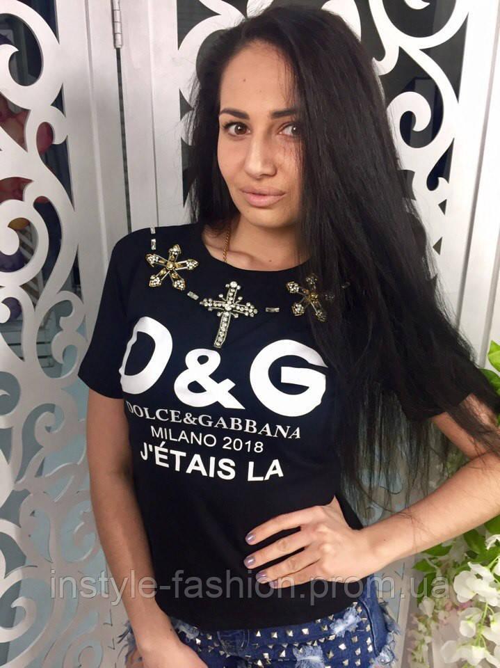 Женская футболка Dolce&Gabanna ткань хлопок цвет черный