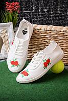 Кеды с цветочной нашивкой белые женские   O-12698