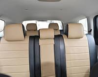 Авточехлы из экокожи черные с бежевым на  Datsun Mido