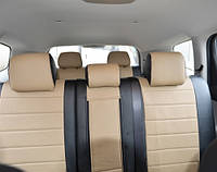 Авточехлы из экокожи черные с бежевым на  Ford Fiesta MK 5 с 2001-2008г. хэтчбек 5 дверей