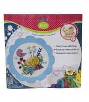 Набор для творчества с разными аксессуарами и приспособлениями для вышивания   вышивания крестиком Цветы и птицы в голубой рамке,57898